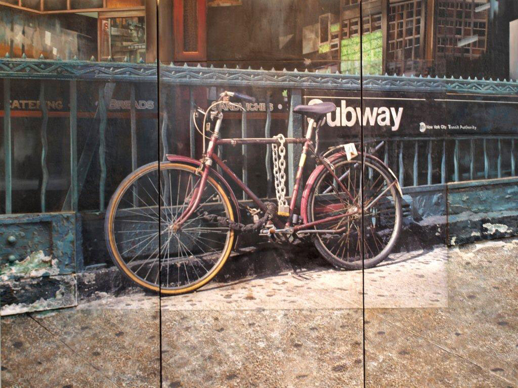 Robert Mielenhausen. 23rd Street Station Triptych. 60 x 80 inches. mixed-media on board