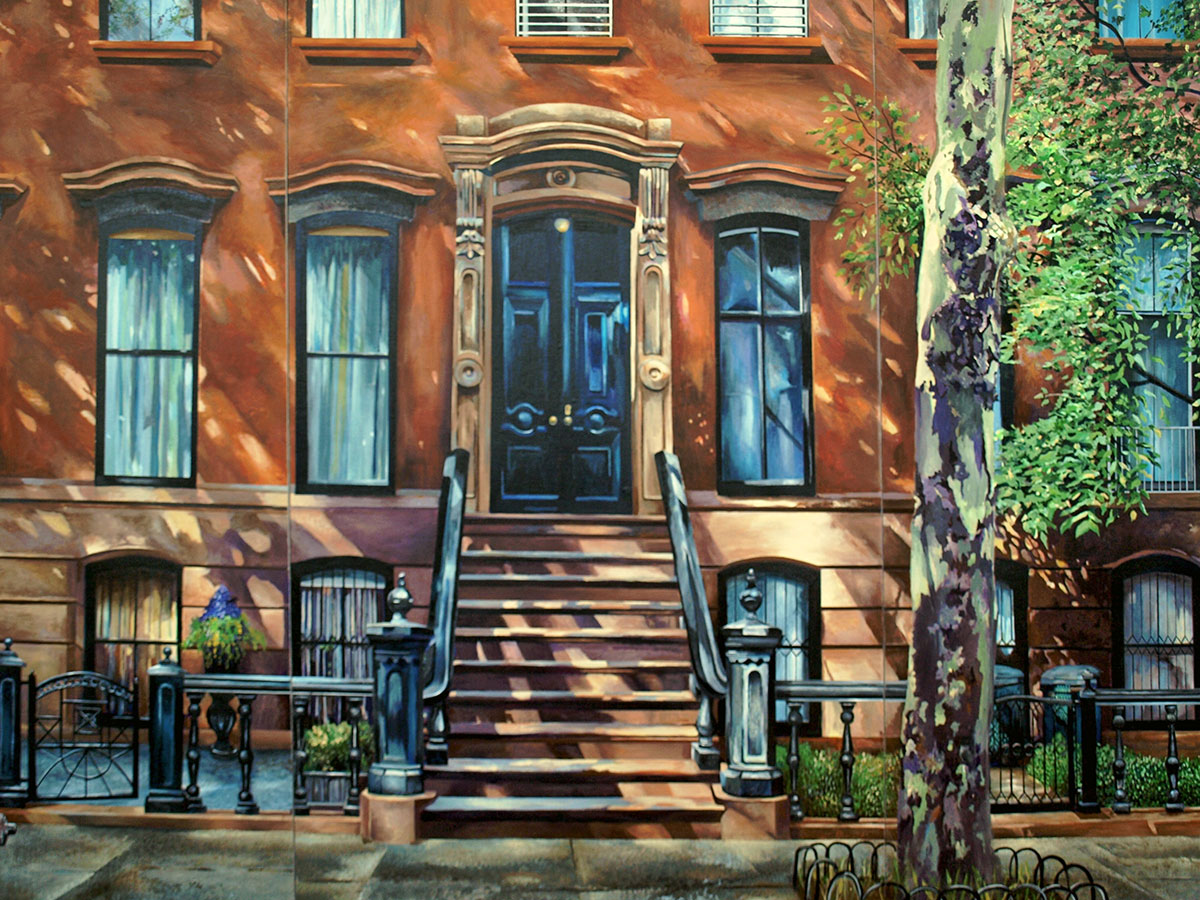 Robert Mielenhausen, Charles Street, 61 x78 inches. Triptych, Acrylic on board