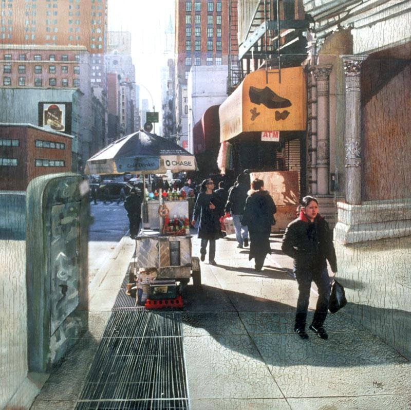 Robert Mielenhausen, Broadway Beat, 32x32 inches.