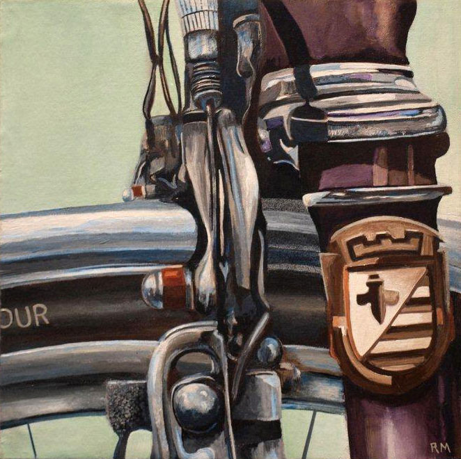Robert Mielenhausen, Bike Fragment, 2014. 12 x 12 inches. Acrylic on Canvas.