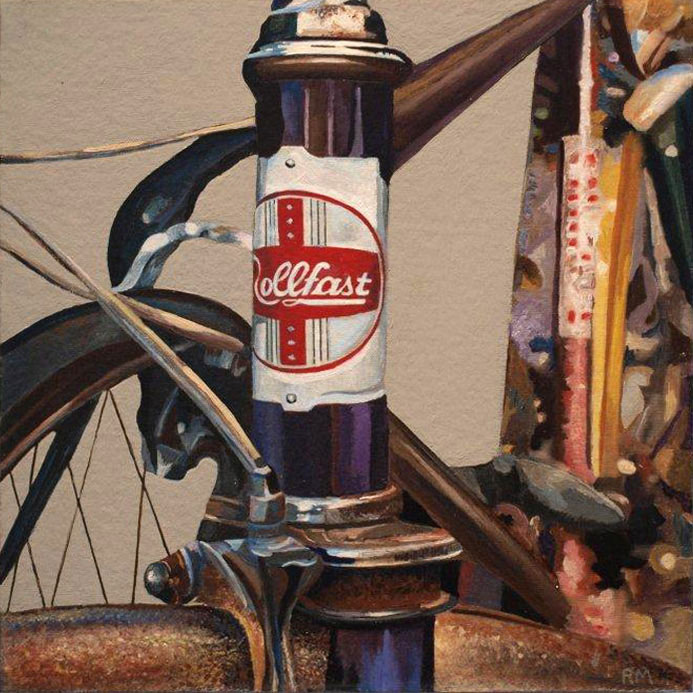 Robert Mielenhausen, Bike Fragment, 2014. 12 x 12 inches. Acrylic on Canvas. Private Collection.