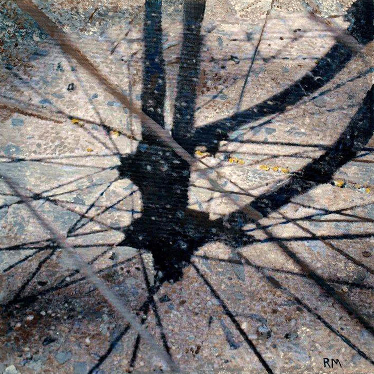 Robert Mielenhausen, Bike Fragment 14, 2014. 10 x 10 inches. Acrylic on Canvas.