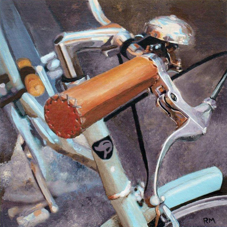 Robert Mielenhausen, Bike Fragment 21, 2014. 10 x 10 inches. Acrylic on Canvas.