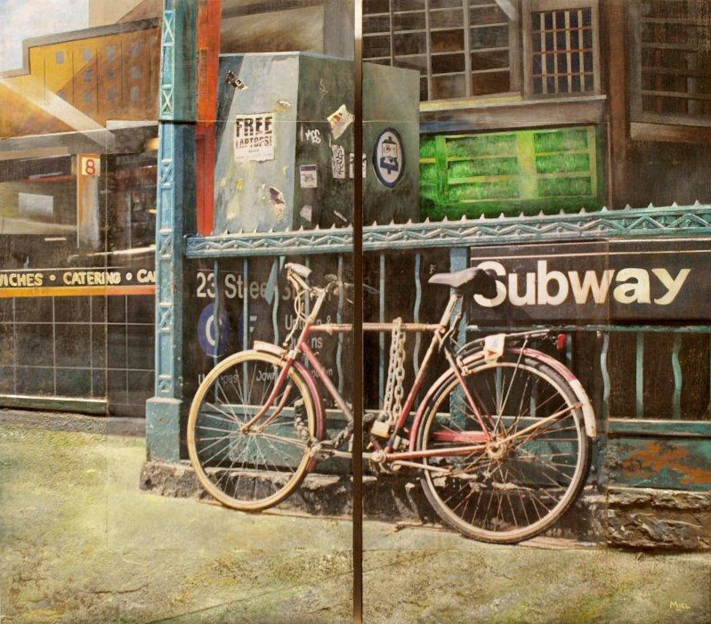 Robert Mielenhausen, 23rd Street Station Revisited, 2014. 32 x 36 inches. Mixed-media, Diptych Garguilo Art Foundation, for Flagler College, St. Augustine, FL.
