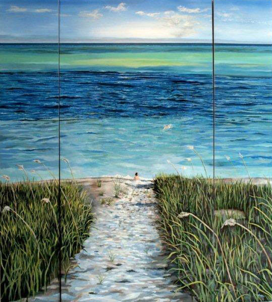 Robert Mielenhausen, Beach, 2014. 60 x 72 inches. Acrylic , Triptych (Private Collection) Turks and Caicos
