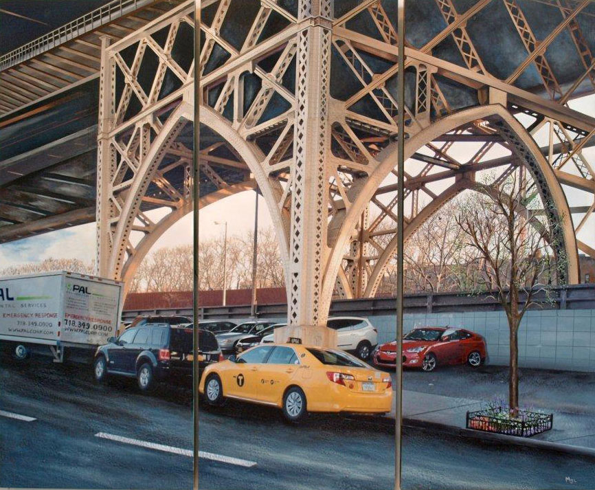 Robert Mielenhausen, The Bridge, 2014. 60 x76 inches. Mixed-media, Triptych. Private Commission, Trump Tower, United Nations Plaza, NY.NY.