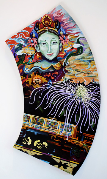 (Section) Samsara, Green Tara, 21 x 53 inches. Acrylic on shaped canvas.