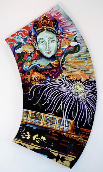 (Section) Samsara, Green Tara, 21 x 53 inches. Acrylic on shaped canvas.