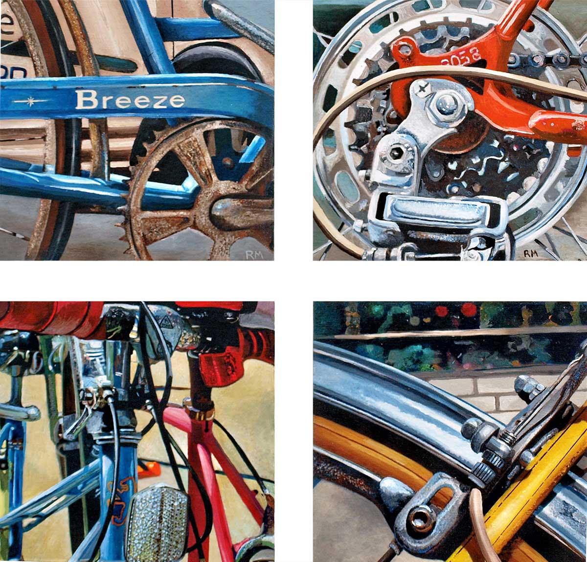 "Robert Mielenhausen, ""Bike Fragment"" Series I 25""x25""x3.5"""
