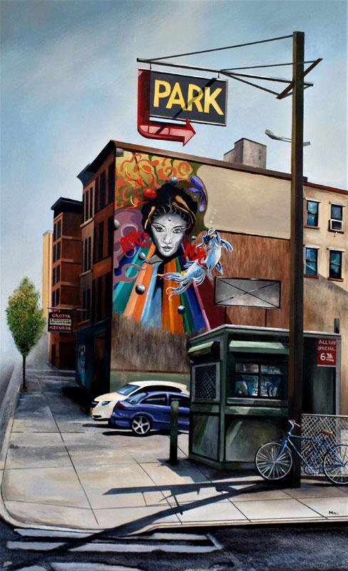 """Peace NYC"" 44.5""x27.5"" acrylic on canvas on board."