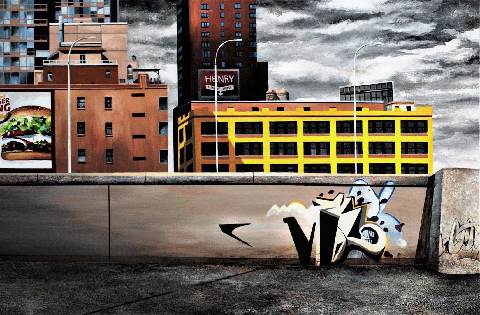 "Robert Mielenhausen, Tenth Avenue, 24"" x 38"" acrylic on canvas on board"