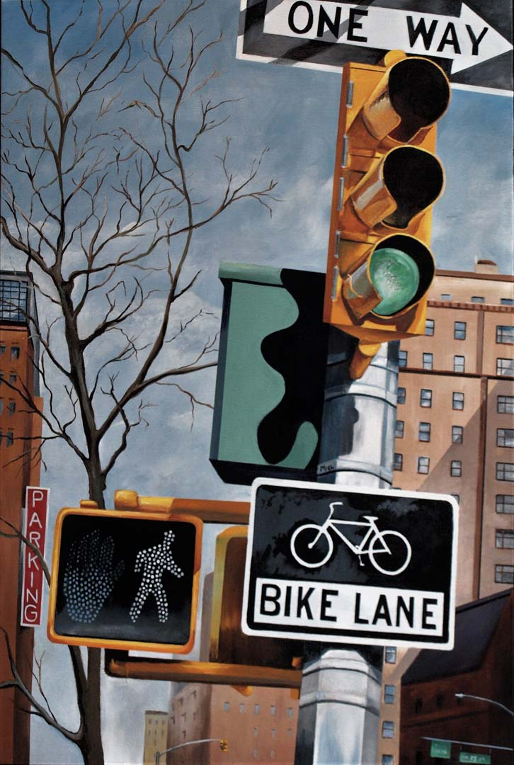 "Robert Mielenhausen, Bike Lane, 36"" x 24"" acrylic on canvas"