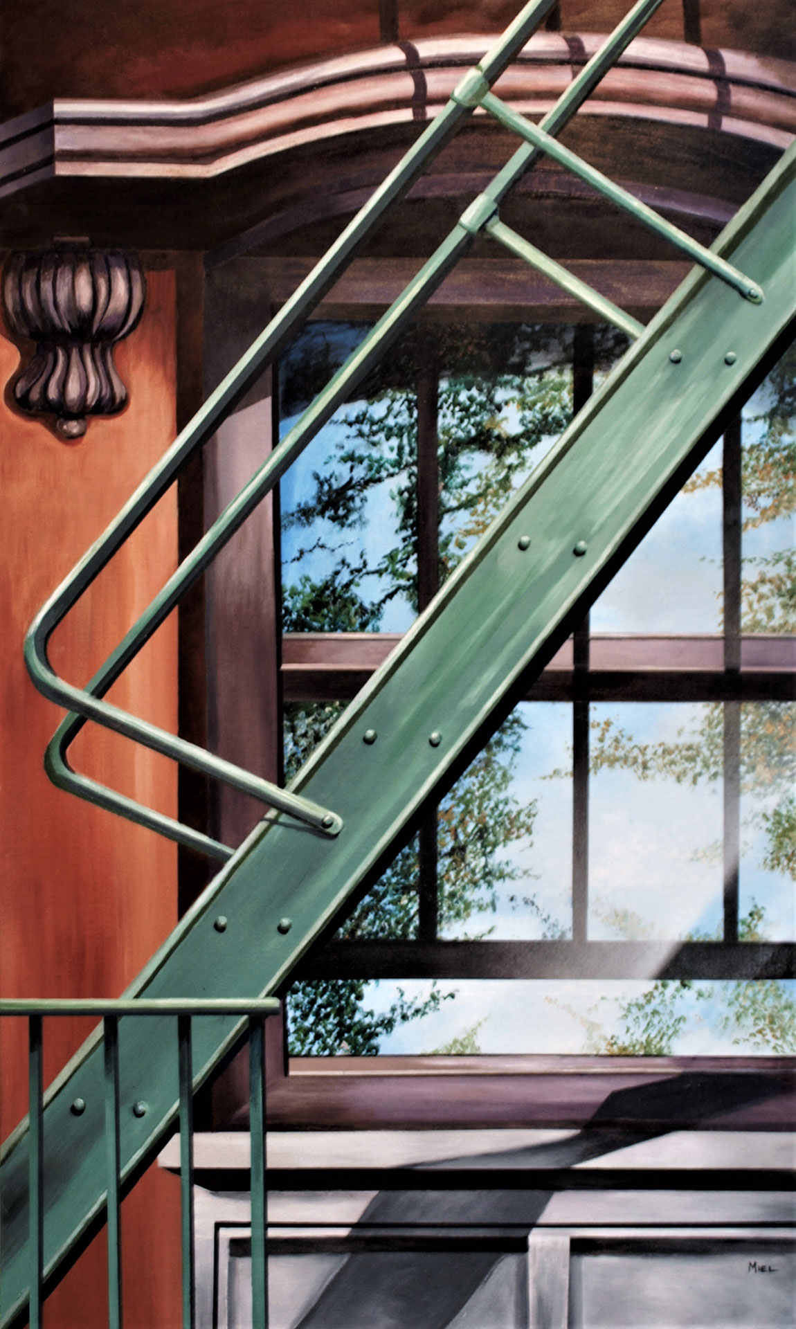 Robert Mielenhausen, Up on the roof, 40 x 24 inches. Acrylic on canvas on board.