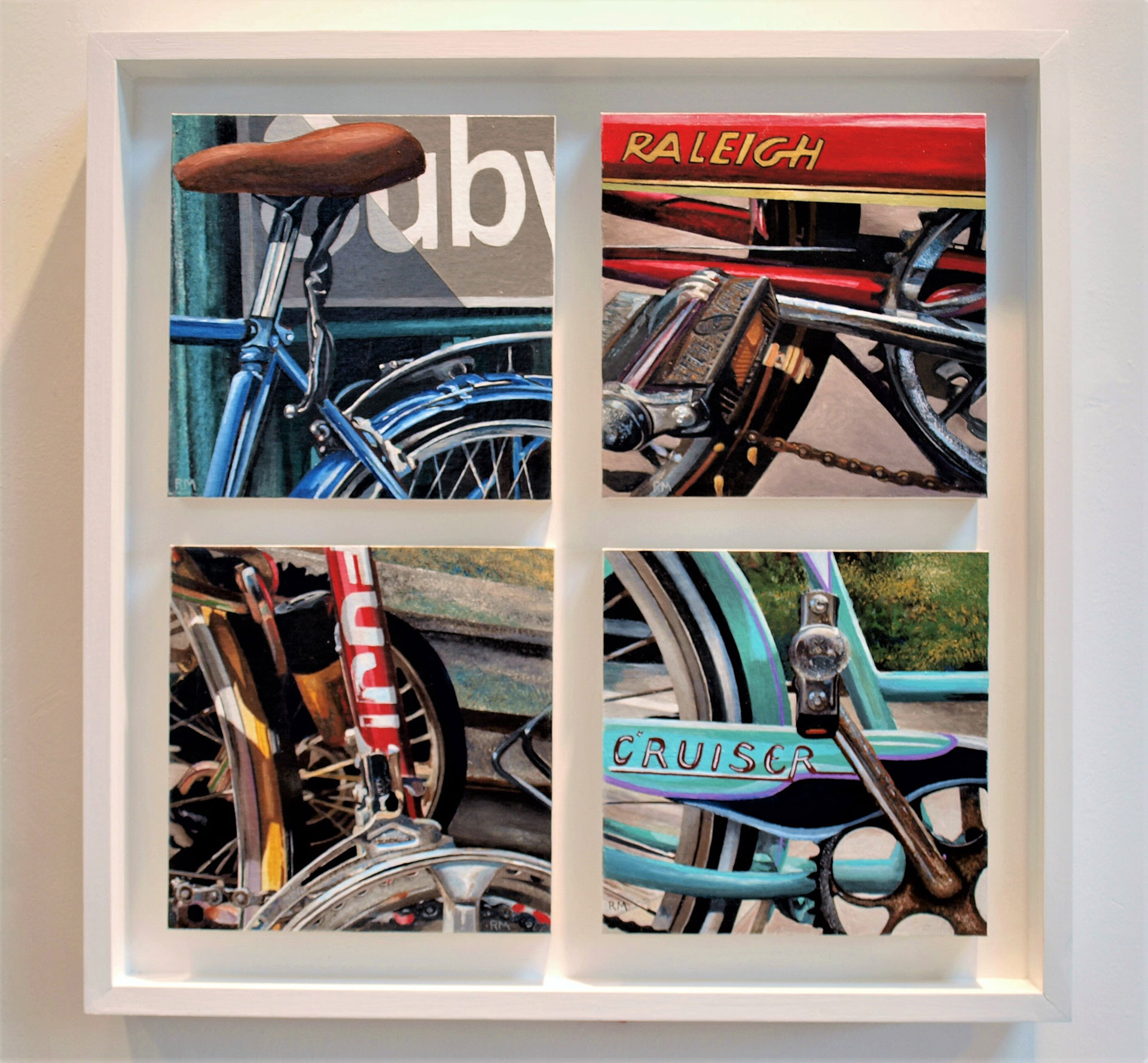 Robert Mielenhausen, Bike Fragments, Series III. 25.5 x 25.5 x 3.5 inches. Acrylic on canvas on board