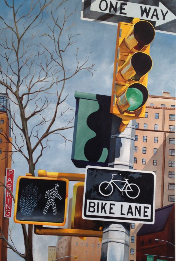 "Robert Mielenhausen, ""Bike Lane"" 36""x 24"" acrylic on canvas."